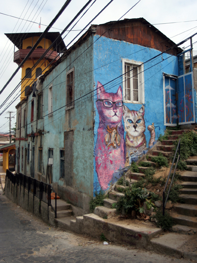 Cat mural in Polanco, Valaparaiso, Chile