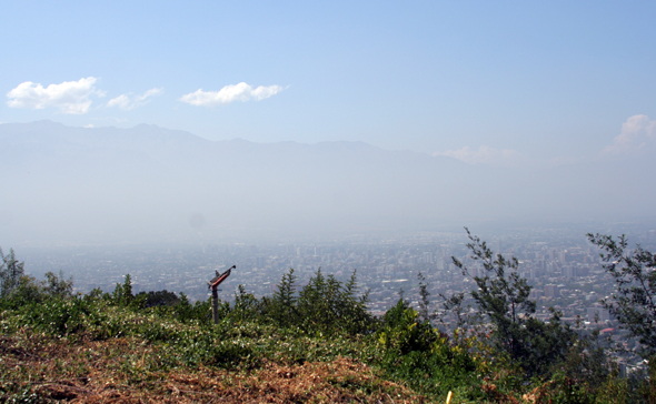 Smoggy Santiago view at Cerro San Cristobal