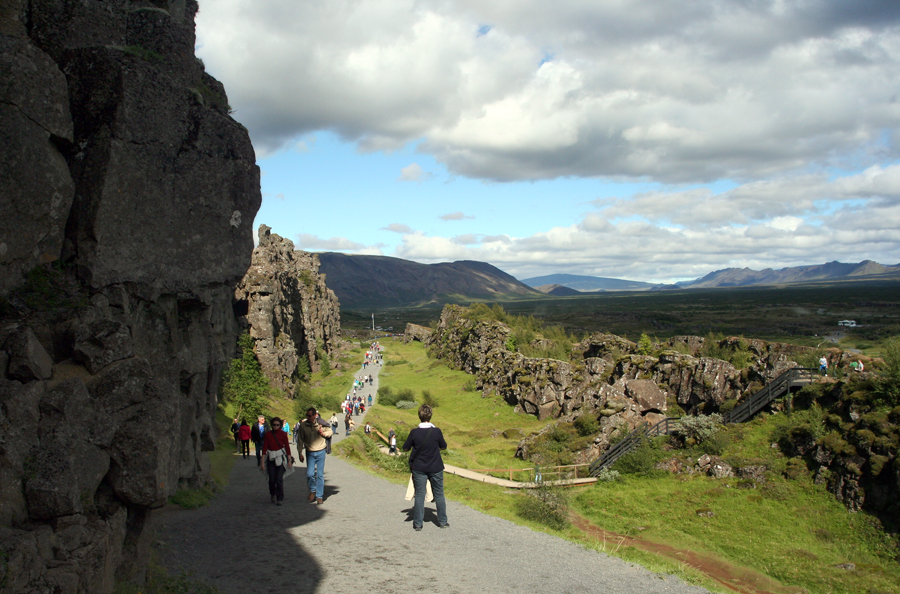 The Þingvellir rift valley, site of early Icelandic parliament and the Mid-Atlantic Ridge