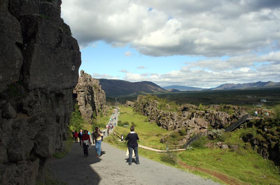 The Þingvellir rift valley, site of early Icelandic parliament and the Mid-Atlantic Ridge